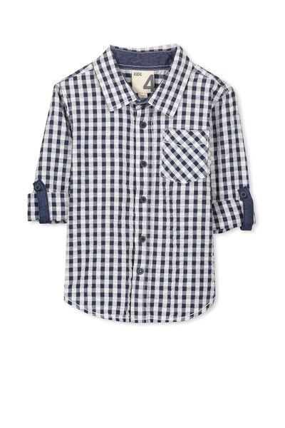 Noah Long Sleeve Shirt, BLUE GINGHAM