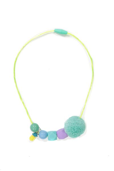 Beaded Pom Pom Necklace, BLUE