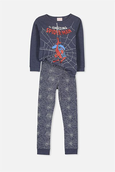 Harry Long Sleeve Boys PJ Set, SPIDERMAN NAVY WEB