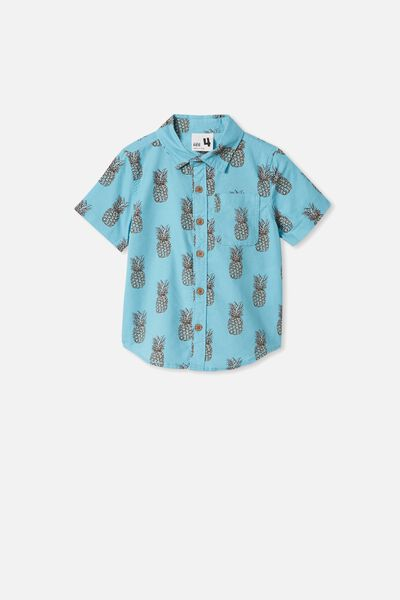 Resort Short Sleeve Shirt, PINEAPPLES/BLUE ICE