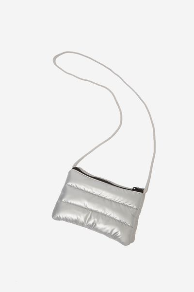Crossbody Sling Bag, PUFFER METALLIC