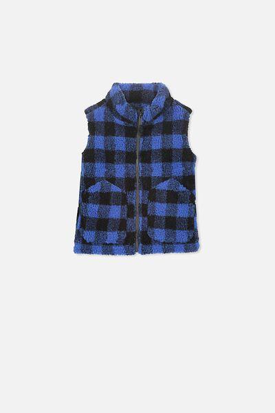 Lucas Sherpa Vest, PHANTOM/BLUE CHECK