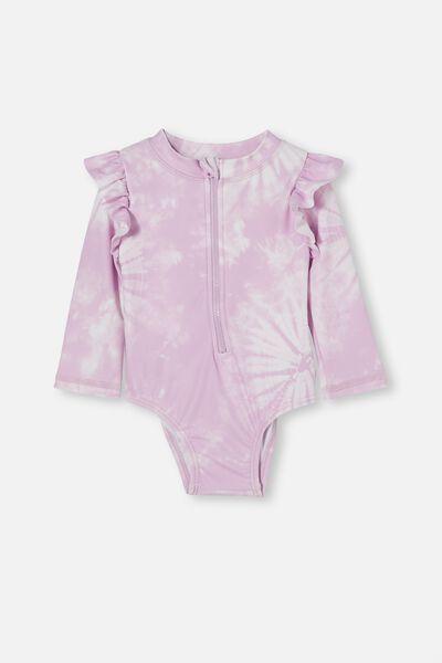 Lucy Long Sleeve Swimsuit, PALE VIOLET TIE DYE