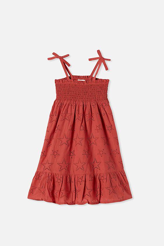 Lily Mae Sleeveless Dress, RED BRICK
