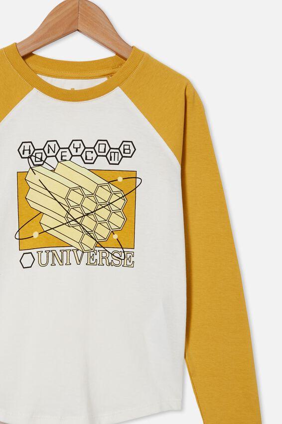 Max Long Sleeve Raglan Tee, HONEY GOLD/RETRO WHITE HONEYCOMB UNIVERSITY