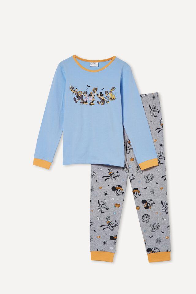 Orlando Long Sleeve Pyjama Set Licensed, LCN DIS HALLOWEEN MICKEY & FRIENDS/DUSK BLUE