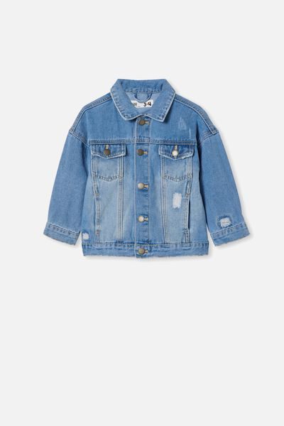 Emmy Oversized Denim Jacket, WEEKEND WASH/RIPS