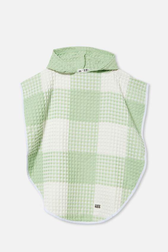 Kids Waffle Hooded Towel, SPEARMINT GINGHAM