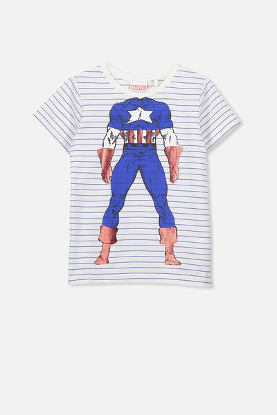 Short Sleeve License Tee, YARD BLUE STRIPE/CAPTAIN AMERICA