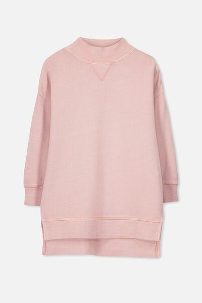 Olivia Oversize High Neck Fleece Top, ROSE SMOKE