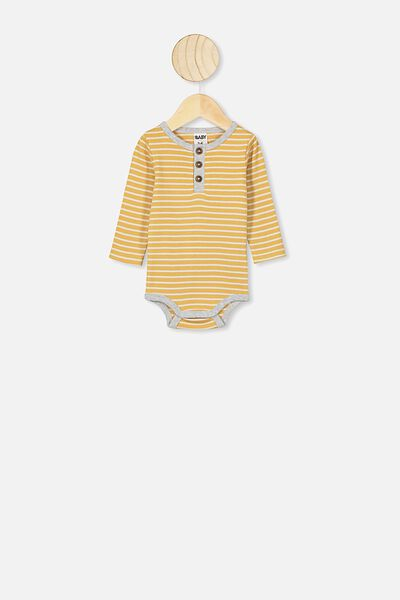 The Long Sleeve Placket Bubbysuit, ASH STRIPE VINTAGE HONEY/CLOUD MARLE BIND