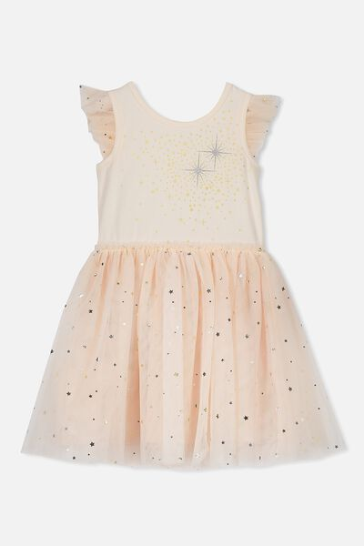Iris Tulle Dress, PASTEL PEACH/SHINNING STARS