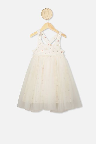 Iris Tulle Dress, DARK VANILLA/FLORAL FIELDS MINI
