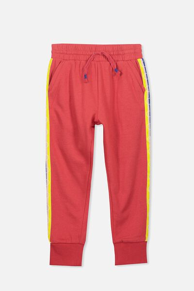 Lux Trackpant, MICKEY SIDE TAPE/BONFIRE RED
