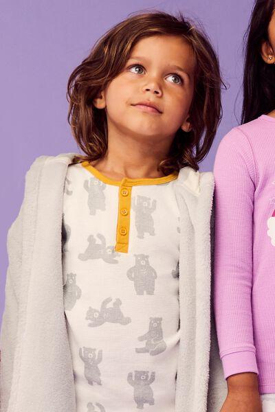 Morgan 2 Long Sleeve Waffle Pyjama Set, BEARY SLEEPY