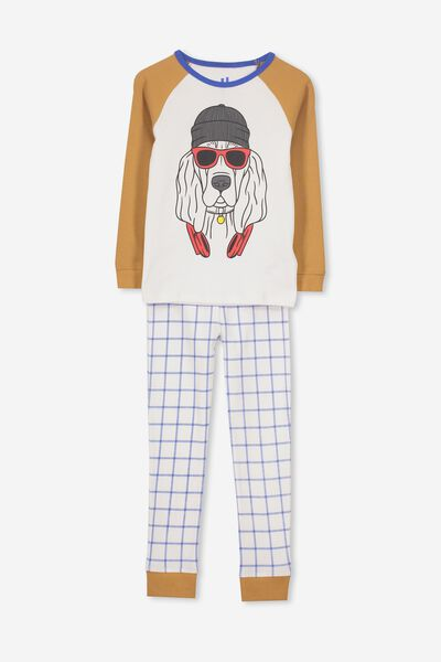 Jacob Boys Long Sleeve Raglan PJ Set, HOUND DOG