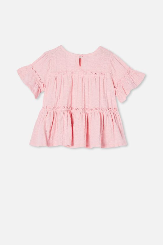 Frida Short Sleeve Frill Top, MARSHMALLOW