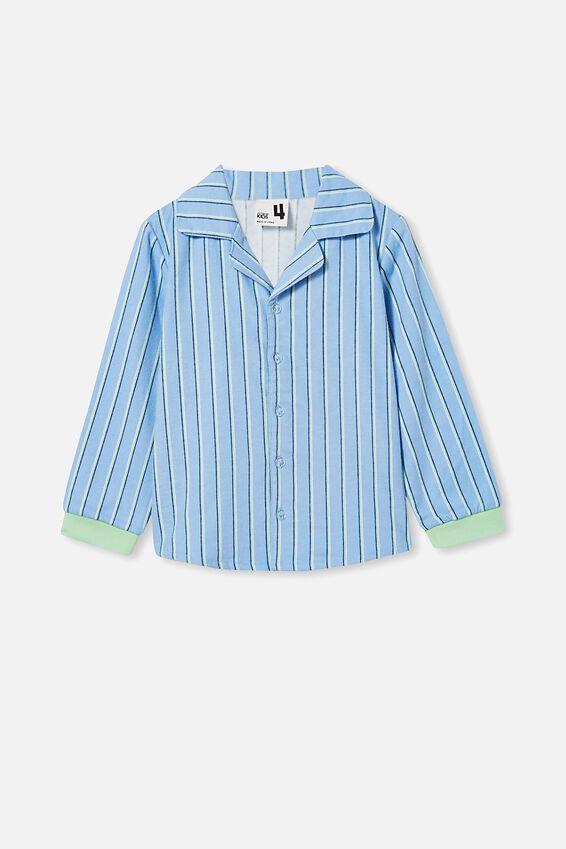 William Long Sleeve Pyjama Set, STRIPE/DUSK BLUE