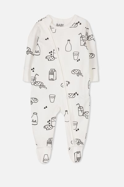Mini Zip Through Romper, VANILLA/MILK AND COOKIES