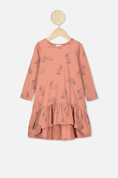 Joss Long Sleeve Dress, DUST STORM/BUNNIES