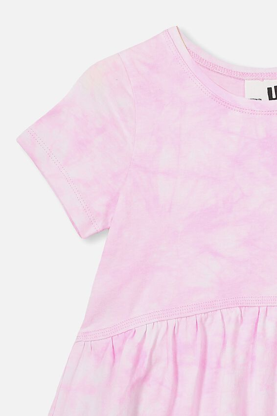 Freya Short Sleeve Dress, CANDY PINK TIE DYE