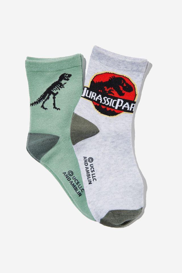 2Pk Jurassic Park Crew Sock, LCN UNI JURASSIC PARK