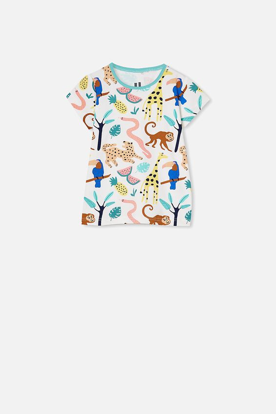 Harpa Short Sleeve Pyjama Set, JUNGLE ANIMAL / VANILLA