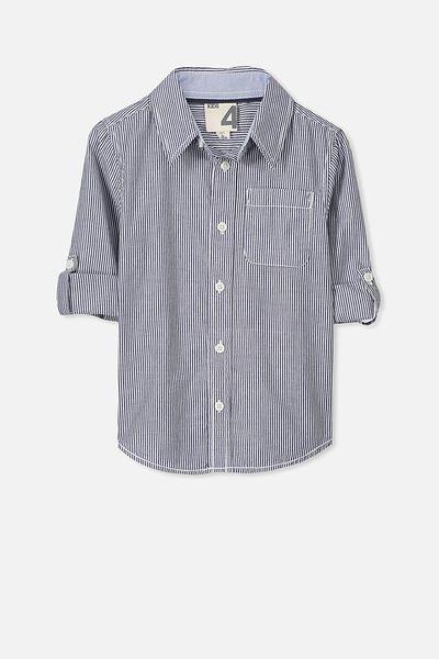 Noah Long Sleeve Shirt, NAVY STRIPE