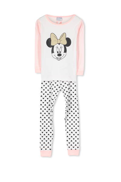 Kristen Long Sleeve Girls PJs, MINNIE MOUSE GLITTER BOW