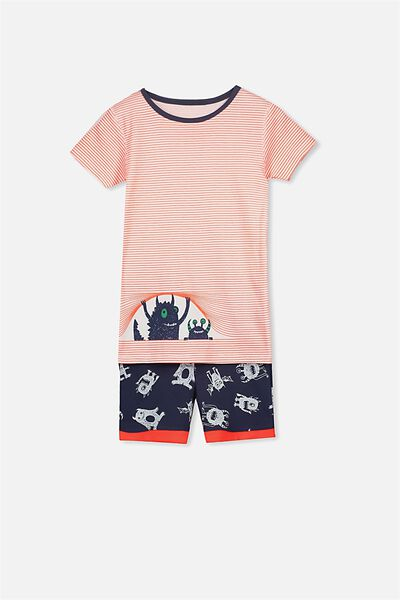Joshua Short Sleeve Pyjama Set, PEEKING MONSTER