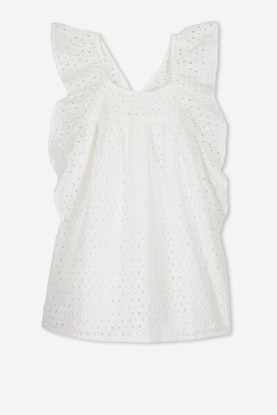Dot Dress, WHITE/BRODERIE