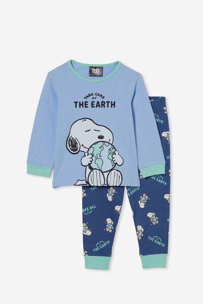 Orlando Long Sleeve Pyjama Set Licensed, LCN PEA SNOOPY TAKE CARE/DUSK BLUE