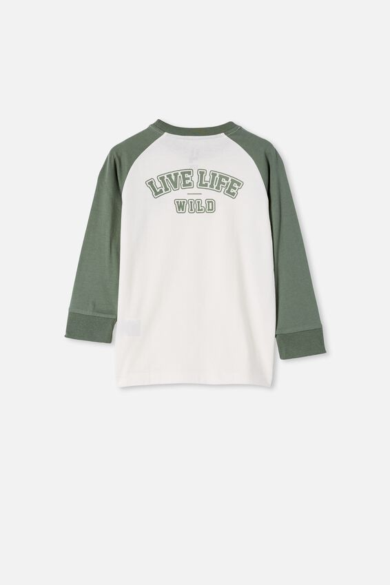 Max Long Sleeve Raglan Tee, SWAG GREEN / DINO LIVE LIFE WILD