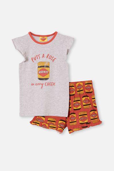 Stacey Flutter Short Sleeve Pyjama Set Licensed, LCN VEGEMITE/SUMMER GREY MARLE
