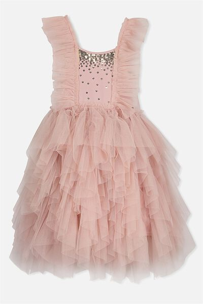 Iris Tulle Dress, DUSTY PINK/GOLD SPARKLE/RUFFLES
