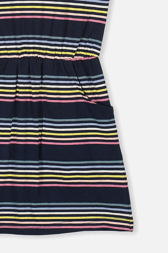 Sigrid Short Sleeve Dress, INDIAN INK/RAINBOW STRIPE