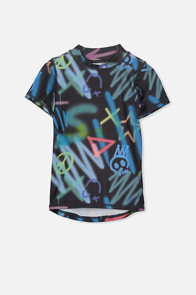 Finley Short Sleeve Rash Vest, GRAPHITE/GRAFFITI