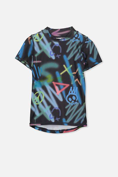 Finley Short Sleeve Rash Vest, GRAPHITE/GRAFFITI