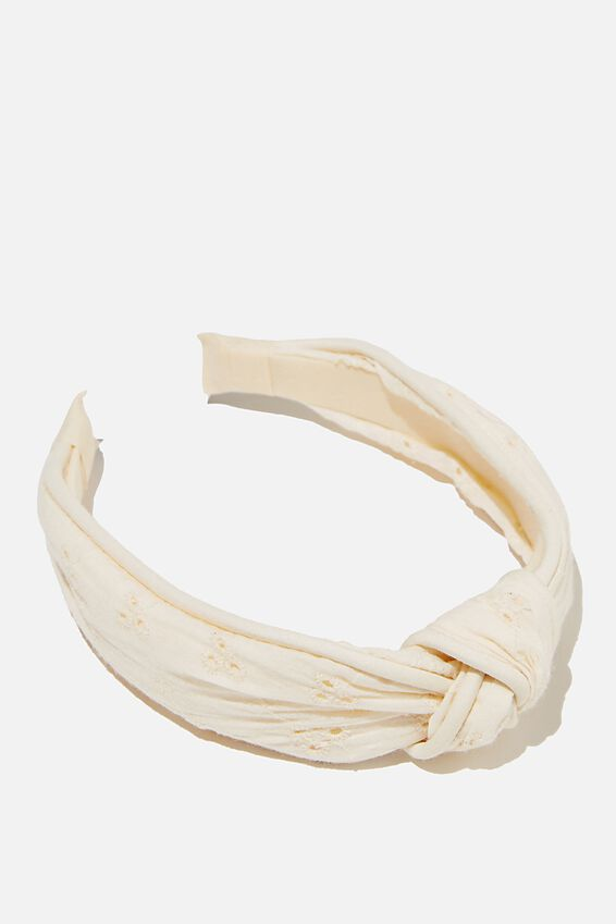 Knotted Headband, WHITE BRODERIE