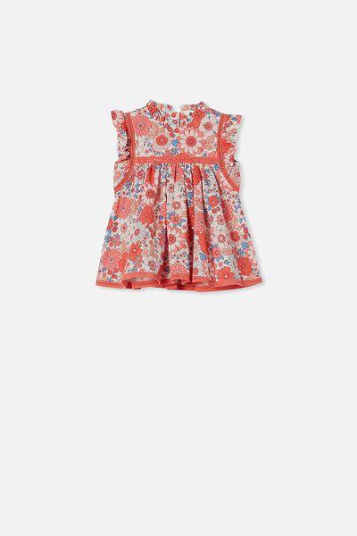 Tess Flutter Sleeve Dress, VANILLA/SMOKED SALMON RETRO FLORAL