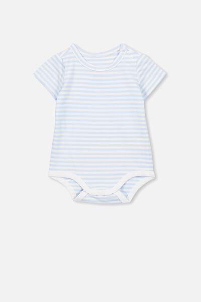 The Short Sleeve Bubbysuit, CHRIS STRIPE WHITE WATER BLUE/WHITE