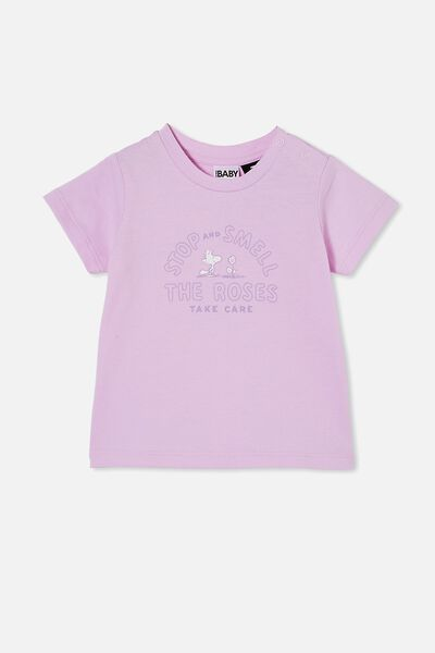 Jamie Short Sleeve Tee-License, LCN PEA PALE VIOLET/SNOOPY SMELL THE ROSES