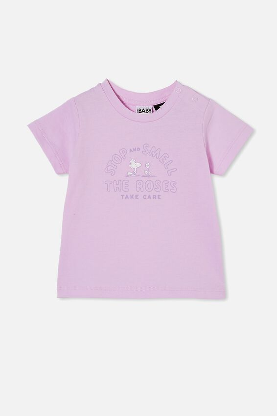 Snoopy Jamie Short Sleeve Tee, LCN PEA PALE VIOLET/SNOOPY SMELL THE ROSES
