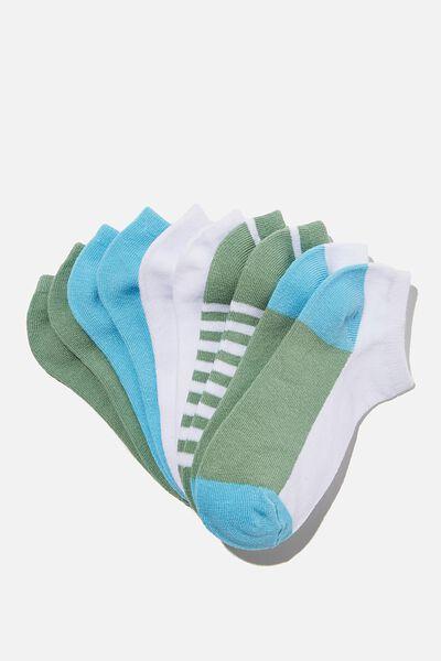 Kids 5Pk Ankle Socks, HAPPY COLOUR BLUE