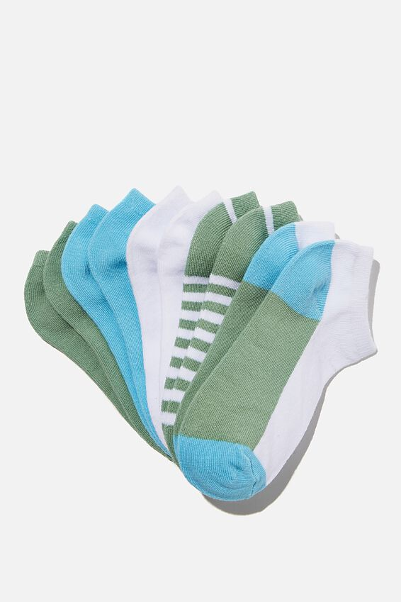 Kids 5Pk Ankle Socks, HAPPY COLOUR BLUE