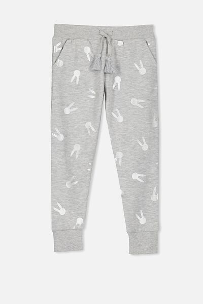 Kikii Trackpant, LIGHT GREY MARLE/FOIL BUNNY