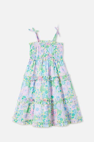 Annika Sleeveless Dress, LEMON DROP RETRO FLORAL