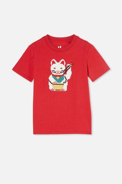 Downtown Short Sleeve Tee, LUCKY RED / LUCKY CAT