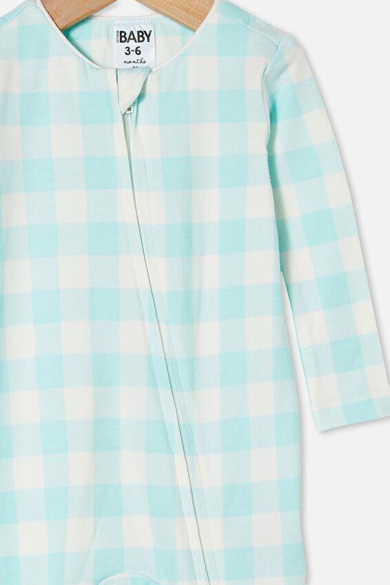 The Long Sleeve Zip Romper, DREAM BLUE/VANILLA MAXI GINGHAM