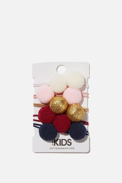 Knot Messy Hair Ties - Round, BERRY NIGHTS POM POM